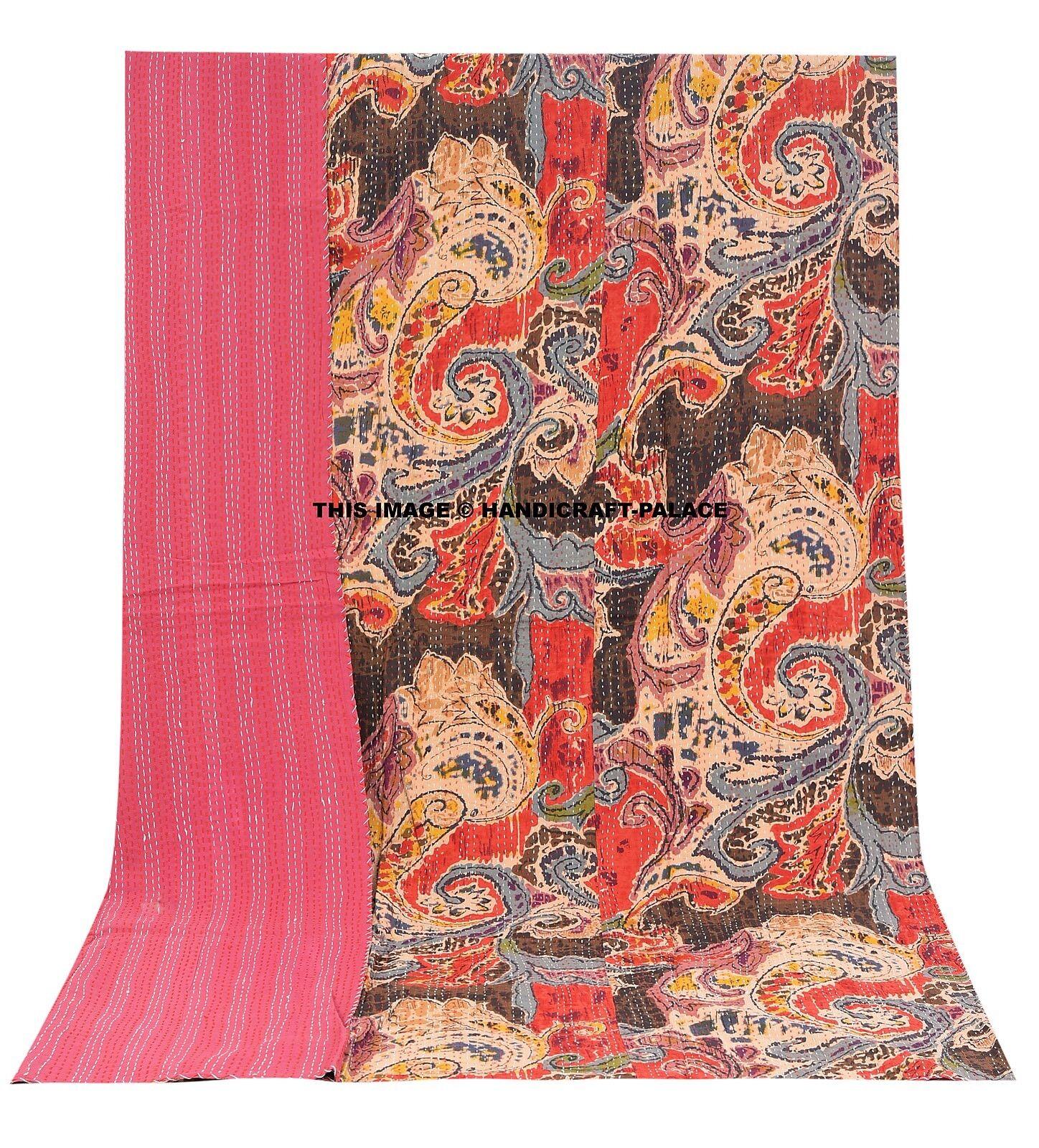 Paisley Kantha Quilt Indian Reversible Bettspread Bettding Throw Single Blanket