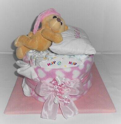 Windeltorte PAMPERS Baby Junge *Schlafbärchen mit Kissen* Windelgeschenk Taufe