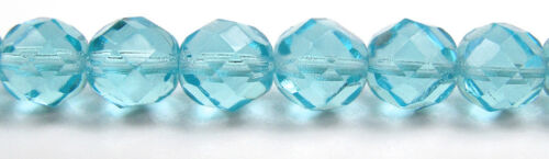 """lt.blue Czech Fire Polished Round Faceted Glass Beads in Aqua color 16"""" strand"""