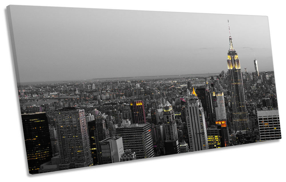 New York City Twilight NYC Picture PANORAMIC CANVAS WALL ART Print