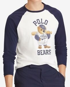 Polo Ralph Lauren Polo Teddy Bear baseball t-shirt slim white navy ... effe7617b7263