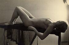 1952, STUDY of naked woman on table, short blonde hair, german, ORIGINAL photo