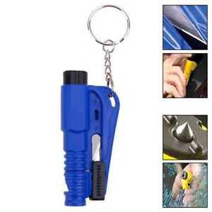 Herramienta de Rescate Seguridad Rompe Cristales Corta Cinturones Silbato Azul
