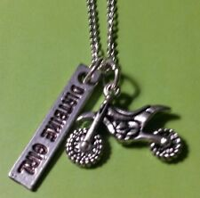 MOTOCROSS DIRTBIKE  GIRL NECKLACE SILVER - RACING