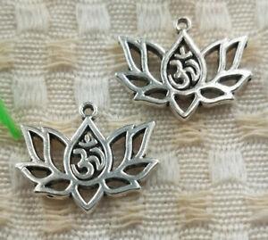 62pcs Tibetan Silver Lotus Flower Charms 16X20mm S5024 Free Ship
