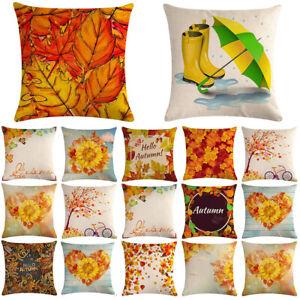"Linen Pillow Cotton Leaf Cover Maple Home Decor Case 18/"" Sofa Throw Car Cushion"