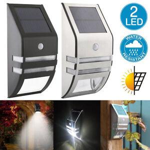 2-LED-Solar-Power-PIR-Motion-Sensor-Wall-Light-Outdoor-Waterproof-Garden-Lamp-US