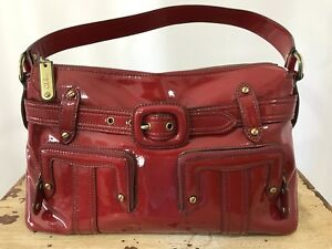 ae7058ff8b Image is loading COLE-HAAN-Red-Patent-Leather-Handbag-Belted-Pocket-