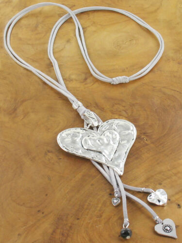 Grey Sparkly Faux Suede Multi Strands Abstract Heart Tassel Mini Hearts Necklace