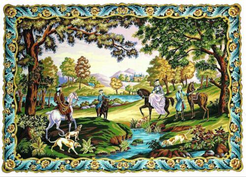 Margot de Paris Tapestry//Needlepoint Canvas Hunting Scene Chasse Louis XV