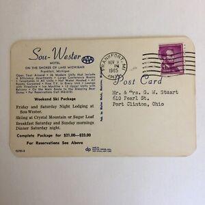 Sou-Wester-Motel-Lake-Michigan-Frankfort-Postmark-1965-Posted-Postcard