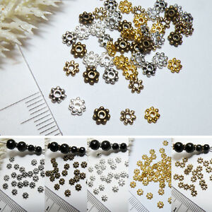 Spacer-BLUME-50x-FARBWAHL-4mm-MINI-Zwischenperle-Tibetsilber-Metall-Perle