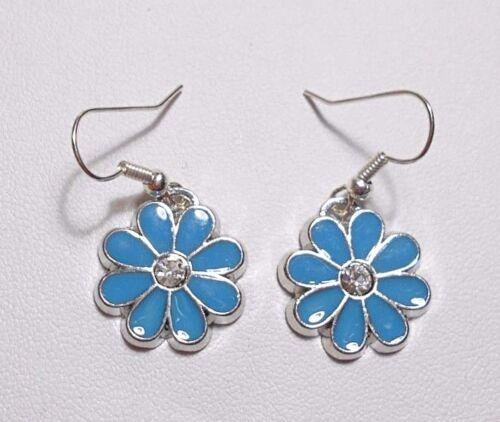 Colgantes pendientes 18mm Azul Esmalte Flor Centro De Cristal