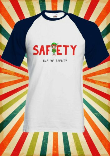 Elf and Safety Christmas Funny Men Women Long Short Sleeve Baseball T Shirt 2269