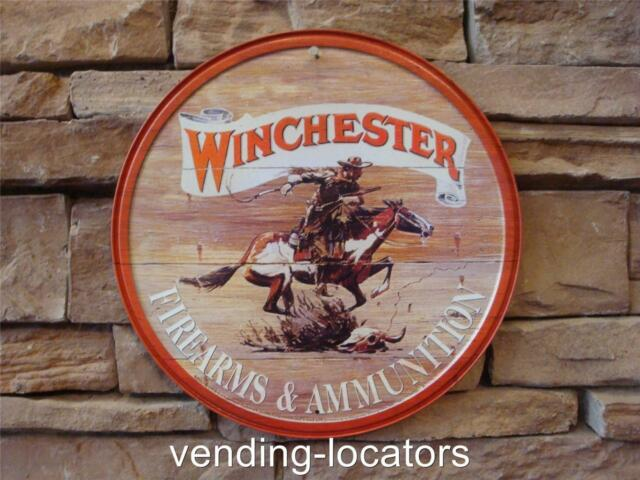 Winchester Firearms Ammunition Metal Sign Gun Ammo Rifle Automatic Pistol Safe