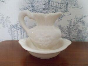 Vtg-White-Porcelain-Pitcher-amp-Wash-Basin-Farmhouse-Decor-Calif-Pottery-70-039-s-Mid
