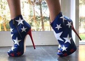 Platform Stivaletti Stivali Peep Toe Stars Cq Leather Couture Stiefel Blue 38 8n0wNvm