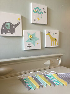 Details zu NURSERY CANVASES AND BUNTING SET elephant giraffe clouds star  mint yellow grey