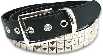 MENS WOMENS STUDDED BONDED LEATHER BELT PYRAMID CONICAL STUD M L XL XXL 2 3 ROW