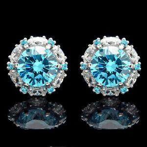 2-CT-Blue-Topaz-Halo-Marquise-Created-Diamond-Screwback-Earrings-14k-White-Gold