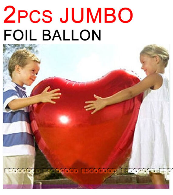 2 JUMBO Red Heart Foil Helium Balloons Valentines Day Wedding Engagement Party