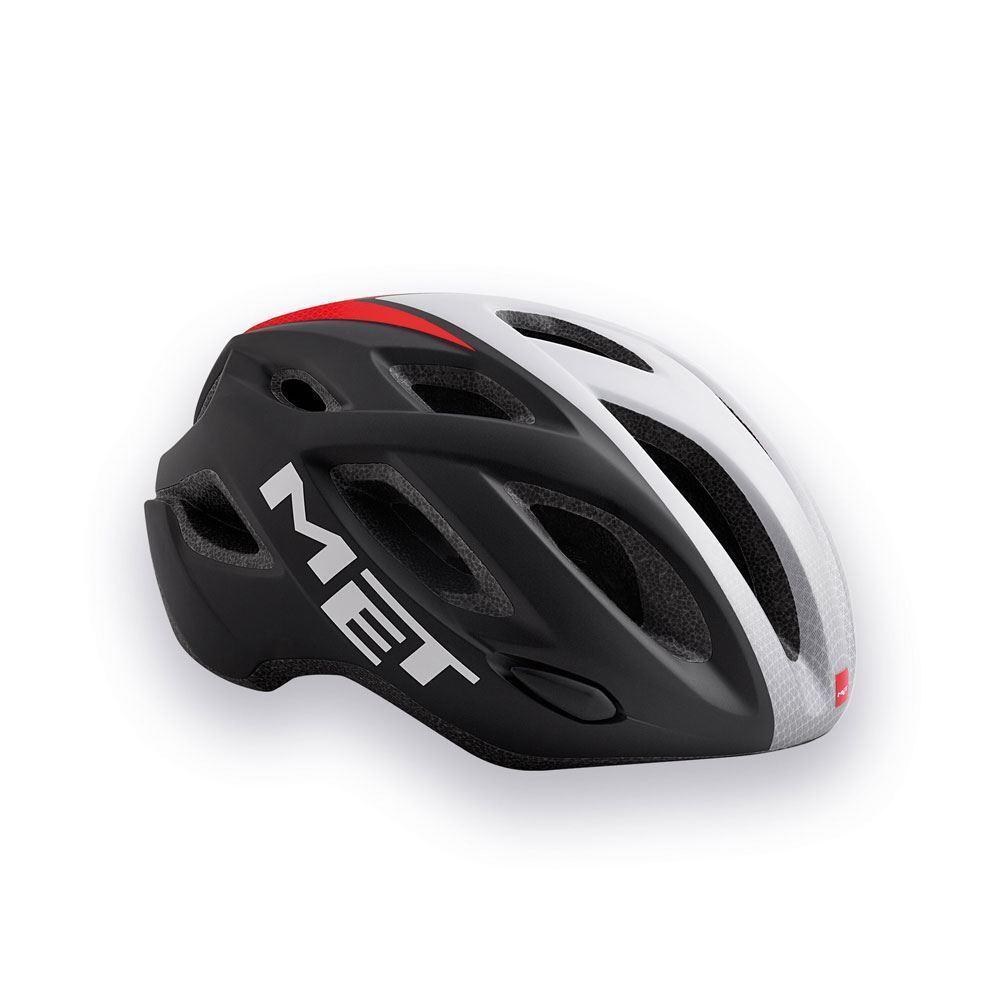 Bicicleta de Carretera Ciclo de Casco Met Idolo - Negro blancoo Rojo 52 59 Cm