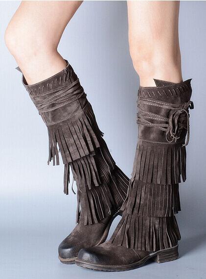 fino al 65% di sconto Vintage Leather donna Ladies Tassel Tassel Tassel Block Flat Knee High Riding avvio Fringe Shoe  consegna lampo