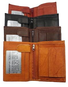 European-Trifold-Wallet-3-ID-Slots-Coin-Pocket-Hipster-Cowhide-Leather-NEW
