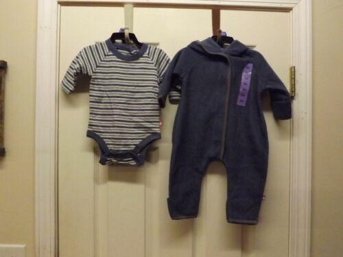 Zutano Baby Cozie Elf Romper 2 Piece Set Navy//Navy Stripes-12M-NWT