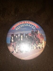 Vintage World Famous Budweiser Beer Clydesdales 3 inchPin-Back Button Pin