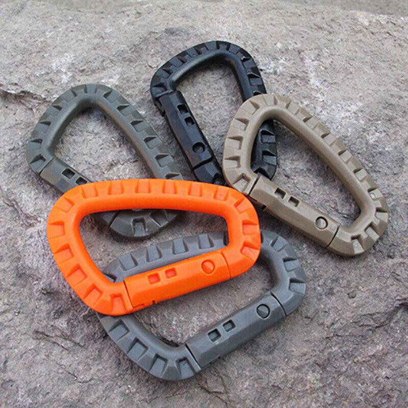 5pcs Mountaineering Buckle Snap Clip Plastic Hook Climbing Carabiner D Shape EH