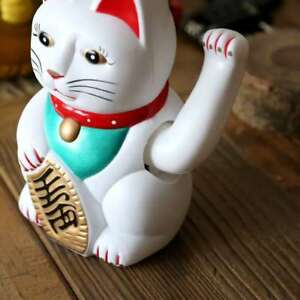 "5"" Lucky Cat MANEKI NEKO Beckoning Waving Arm Wealth Prosperity Feng Shui White"