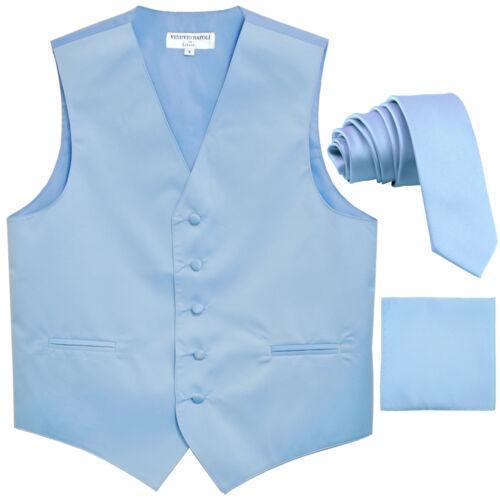 "New Men/'s Light blue formal vest Tuxedo Waistcoat/_2.5/"" necktie /& hankie wedding"