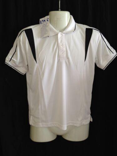 BNWT Boys//Girls Sz 16 LW Reid Brand White//Black Short Sleeve Panel Polo Top