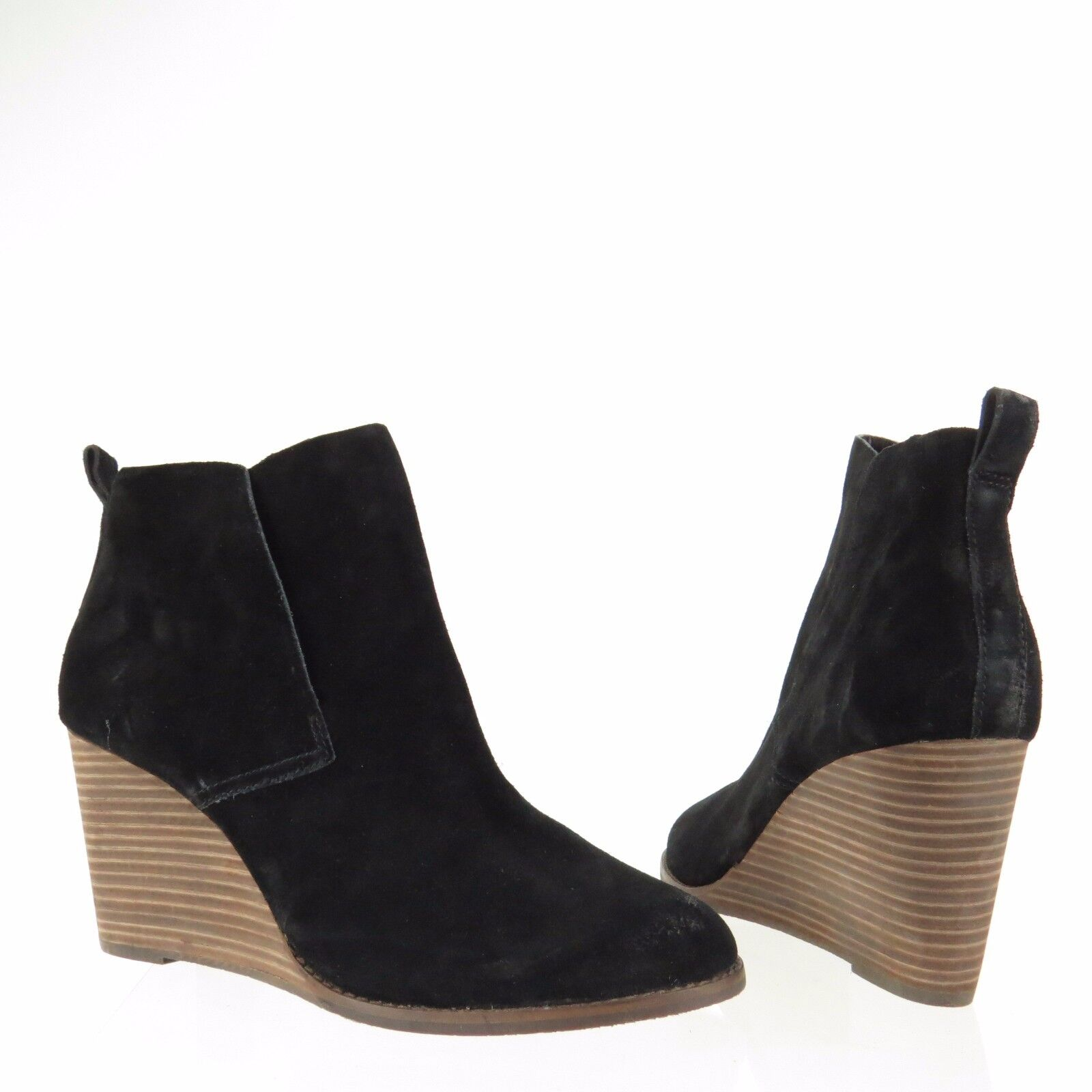 Women's Lucky Brand Yoniana shoes Black Suede Ankle Wedge Booties Booties Booties Size 12 M NEW 3d951b
