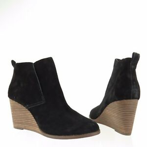 c7be17fb8d17 Women s Lucky Brand Yoniana Shoes Black Suede Ankle Wedge Booties ...