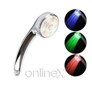 Alcachofa Grifo Ducha Luz LED 7 Colores Diversión Agua Baño a1289