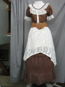 Details About Western Dress Victorian Costume Civil War Prairie Style Cowgirl