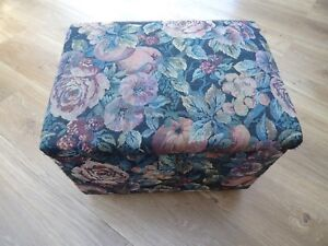 Details About Retro Fl Tapestry Small Footstool With Storage
