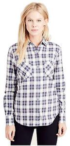 True-Religion-Women-039-s-Plaid-Utility-Button-Long-Sleeve-Shirt-in-Indigo