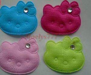 Applique tissu *hello kitty*noeud strass 4 ou 8 pcs couleur au choix