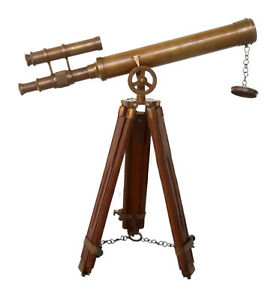 "Antique Vintage Brass Telescope 18/"" w// Wooden Tripod US Navy Marine Collectible"