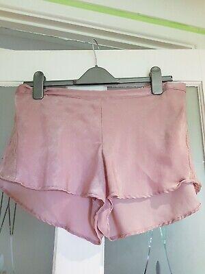 Bright Pink floral French Knix style Silky Satin Pyjama Shorts size 10