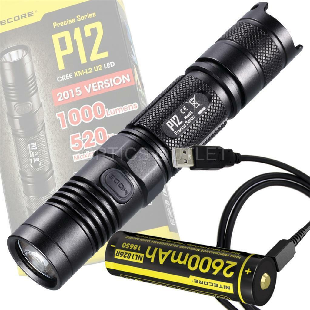 Nitecore P12 1000 Lumen Compact Flashlight & 2600mAh USB  Rehargeable Battery  brand