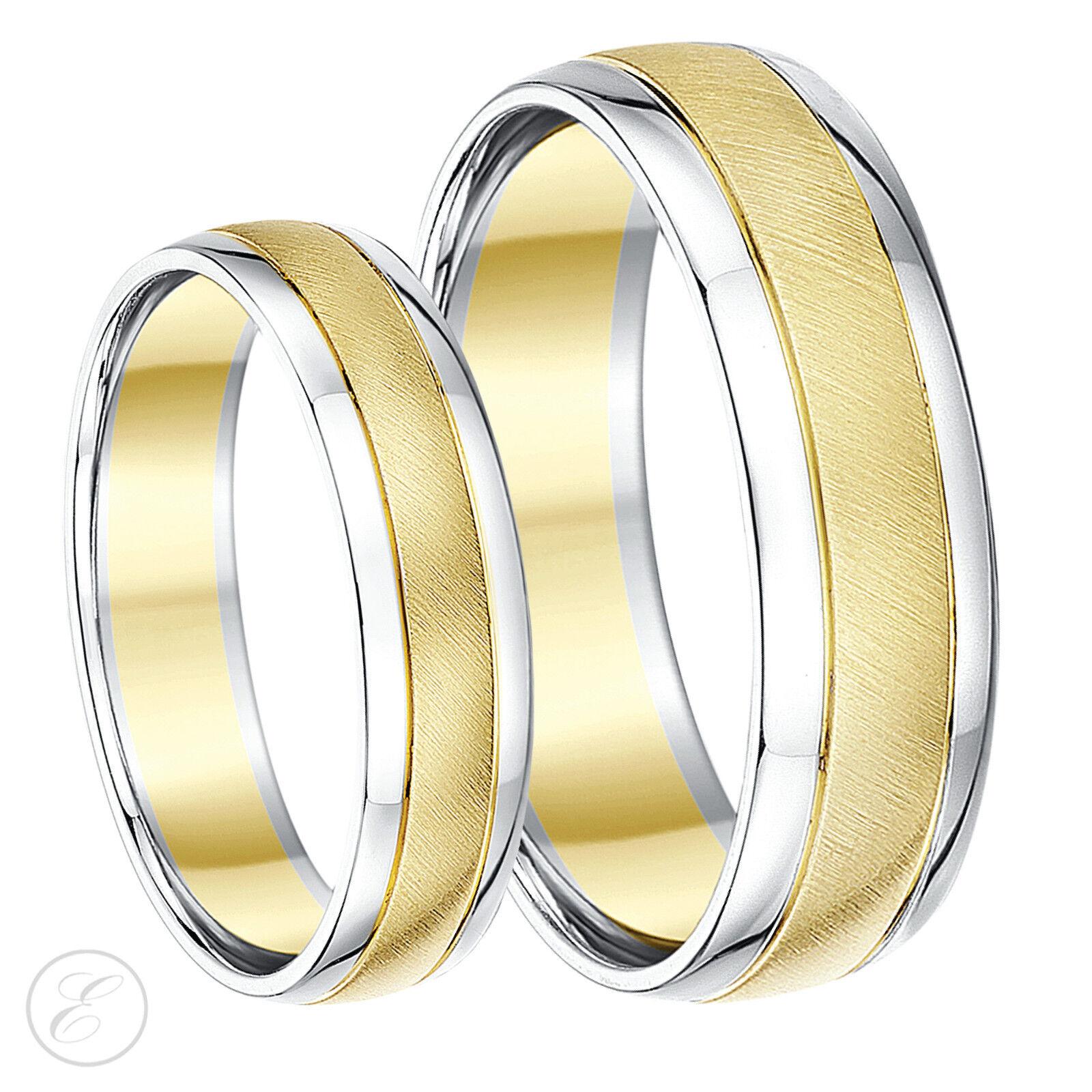 9ct Zweifarbig Designer His & Hers Ehering Bänder 5mm & 6mm 9k