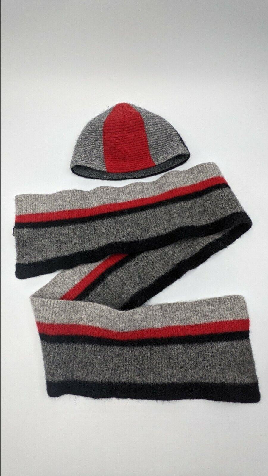 Men's Gap Gray/Black & Red Wool Scarf & Hat RN#54023