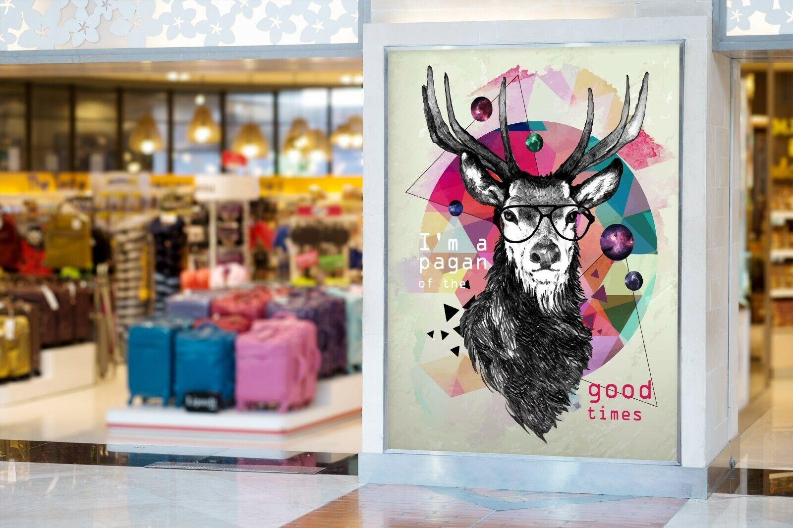 3D Hirschkopf Gekritzel H134 Geschäft Tapete Wandgemälde Selbstklebend Handel An