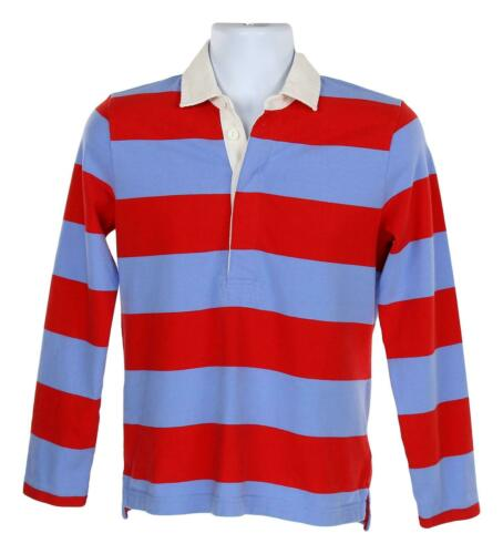 J Crew Womens 1984 Rugby Shirt Long Sleeve Top Button Collar Blue//Red S G8325