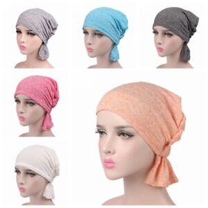 Cotton-Elastic-Hijab-Turban-Hat-Cancer-Chemo-Hair-Loss-Beanie-Cap-Head-Scarf-UK