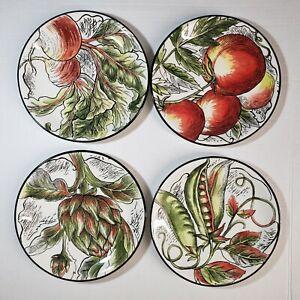 Fitz & Floyd Vista Bella Vegetable Salad Plate Set Of 4 Discontinued